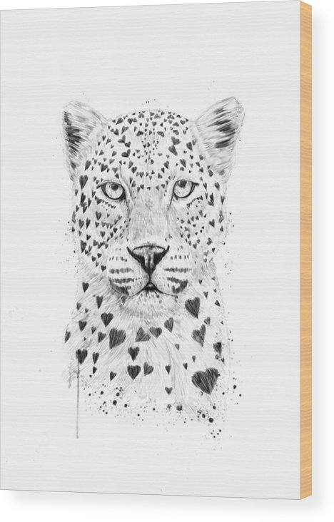 Leopard Wood Print featuring the drawing Lovely leopard by Balazs Solti