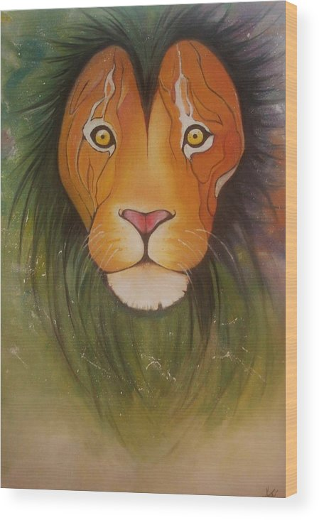 #lion #oilpainting #animal #colorful Wood Print featuring the painting LovelyLion by Anne Sue