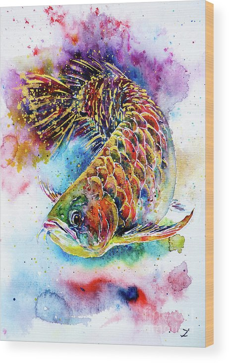 Arowana Wood Print featuring the painting Magic of Arowana by Zaira Dzhaubaeva