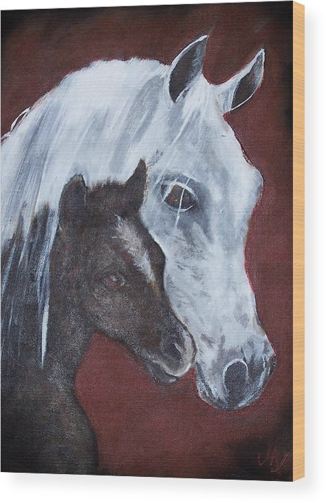 Horse Wood Print featuring the painting Mama by Martha Mullins
