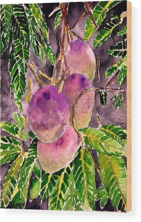 Mango Wood Print featuring the painting Mango tree fruit by Derek Mccrea