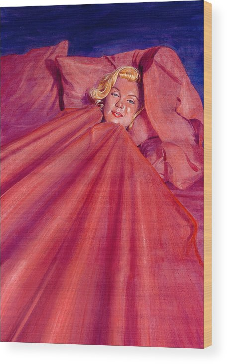 Marilyn Monroe Wood Print featuring the painting Marilyn In Bed by Ken Meyer jr