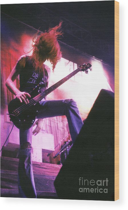 Metallica Wood Print featuring the photograph Metallica 1986 Cliff Burton by Chris Walter