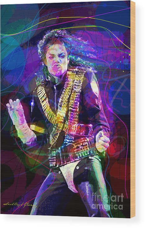 Michael Jackson Wood Print featuring the painting Michael Jackson '93 Moves by David Lloyd Glover