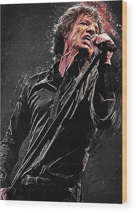 Mick Jagger Wood Print featuring the digital art Mick Jagger by Zapista OU