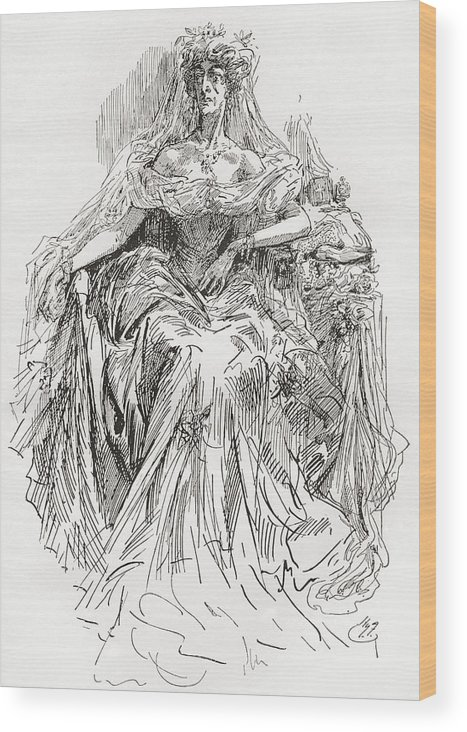 Welsh Wood Print featuring the drawing Miss Havisham. Illustration By Harry by Vintage Design Pics