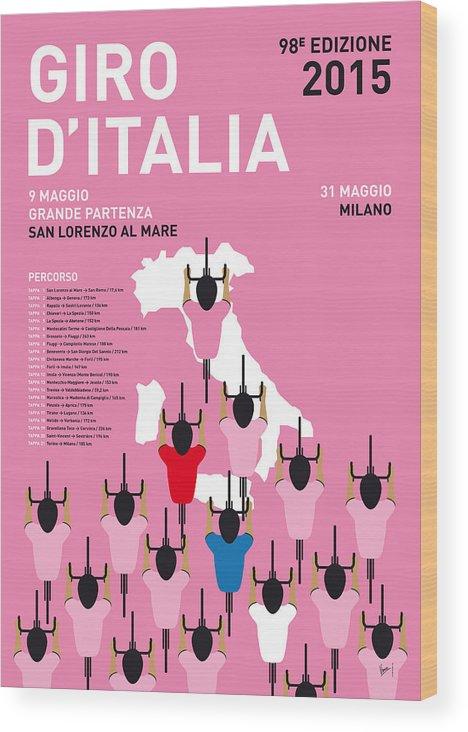 2015 Wood Print featuring the digital art MY GIRO D'ITALIA MINIMAL POSTER Percorso 2015 by Chungkong Art