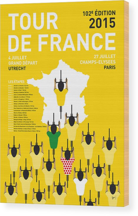 2015 Wood Print featuring the digital art My Tour De France Minimal Poster Etapes 2015 by Chungkong Art