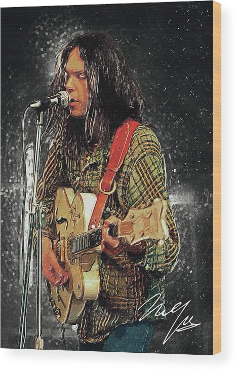 Neil Young Wood Print featuring the digital art Neil Young by Zapista OU