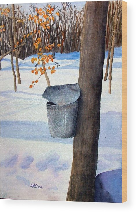 Sap Bucket. Maple Sugaring Wood Print featuring the painting NH Goldmine by Sharon E Allen