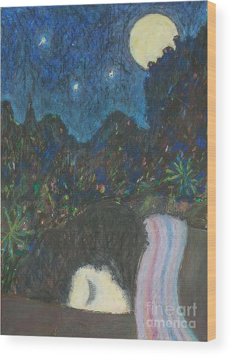 Sleep Wood Print featuring the painting Norah Sleeping by Andy Mercer
