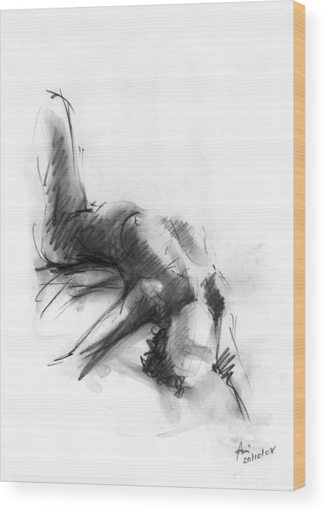 Nude Wood Print featuring the drawing Nude 4 by Ani Gallery