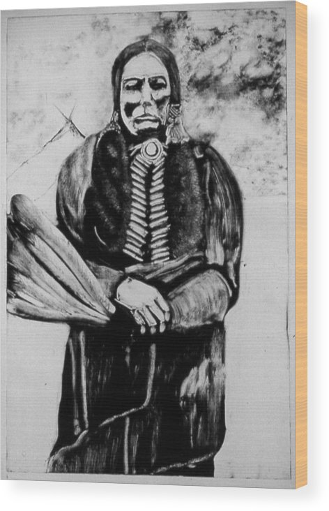 Western Art Wood Print featuring the drawing On Kiowa Reservation by Dan RiiS Grife