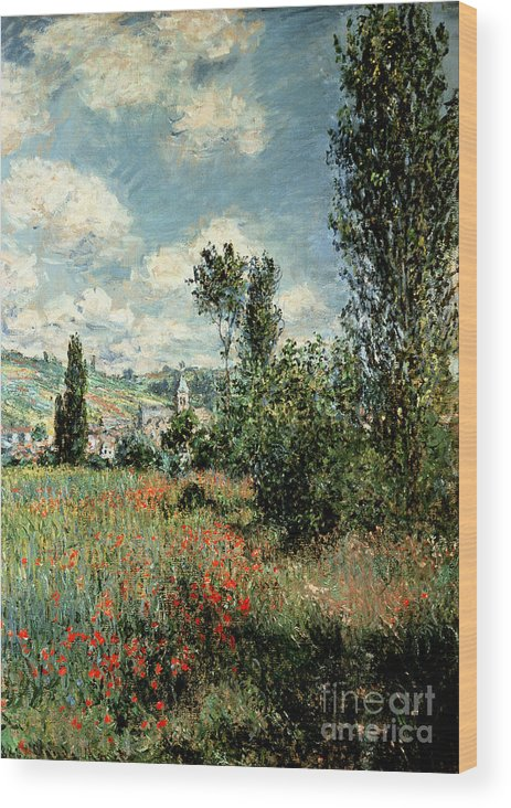 Path Wood Print featuring the painting Path through the Poppies by Claude Monet