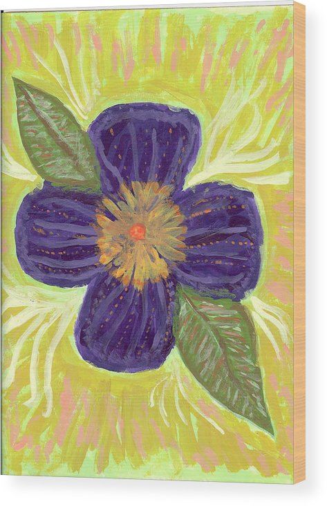 Flower Wood Print featuring the painting Pea In Pod by Laura Lillo