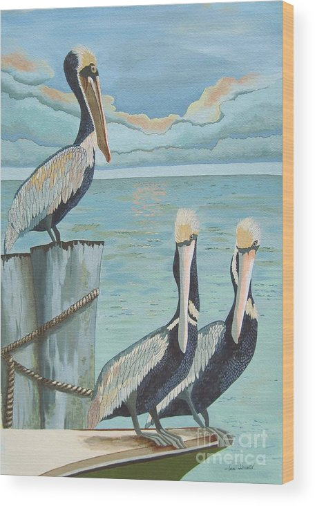 Seascape Wood Print featuring the painting Pelicans Three by Jennifer Donald