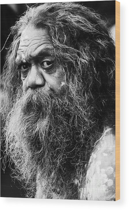 Aborigine Aboriginal Australian Wood Print featuring the photograph Portrait of an Australian aborigine by Sheila Smart Fine Art Photography