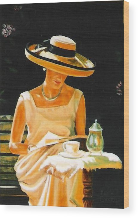 Tea Cup Wood Print featuring the painting Quiet time by Keith Gantos