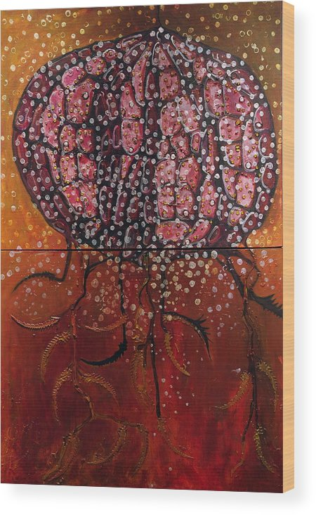 Organic Wood Print featuring the painting Radiolaria by Angela Dickerson