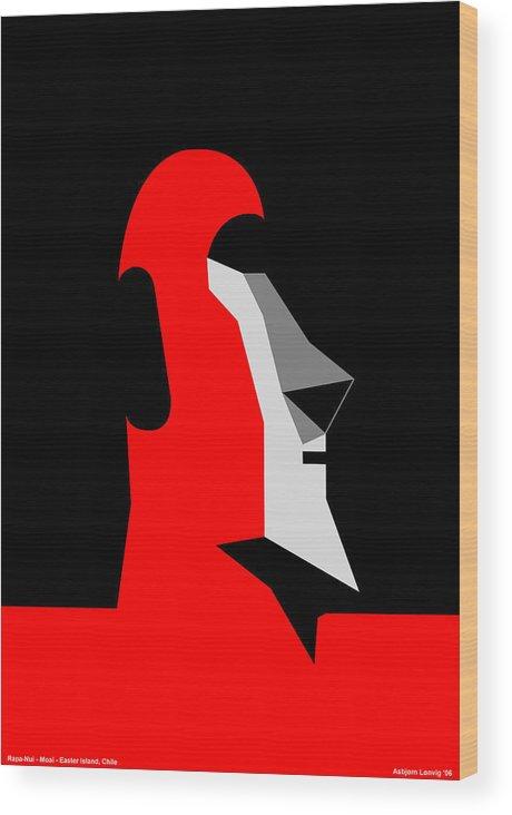 Wood Print featuring the digital art RapaNui Moai by Asbjorn Lonvig