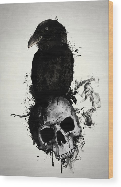 Raven Wood Print featuring the mixed media Raven and Skull by Nicklas Gustafsson