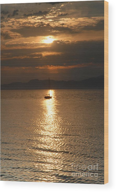 Great Salt Lake Wood Print featuring the photograph Sailing the Great Salt Lake at Sunset by Dennis Hammer