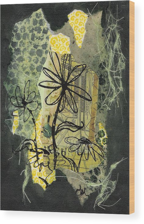 Black Wood Print featuring the mixed media Scribble me a bouquet by Tara Milliken