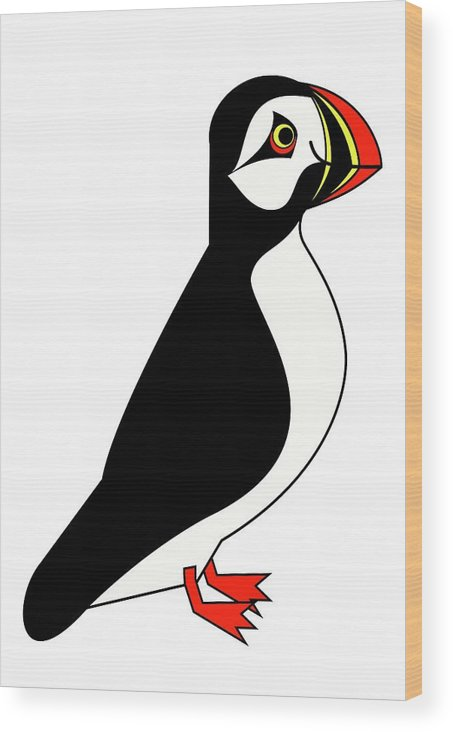 Sea Parrot From Iceland Wood Print featuring the digital art Sea Parrot from Iceland by Asbjorn Lonvig