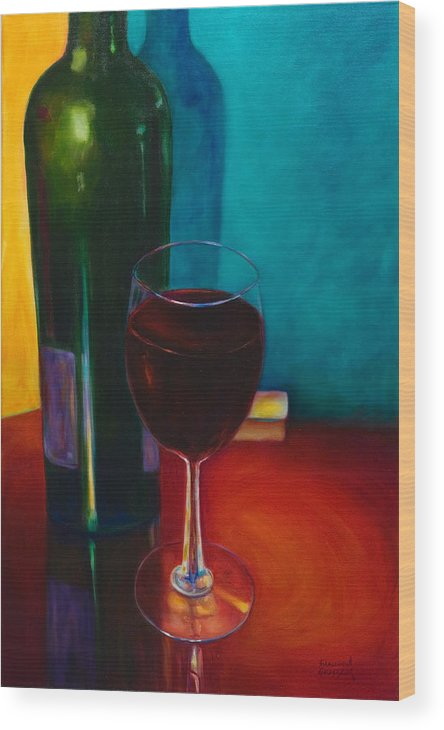 Wine Bottle Wood Print featuring the painting Shannon's Red by Shannon Grissom