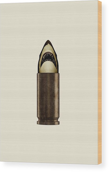 Bullet Wood Print featuring the digital art Shell Shark by Nicholas Ely