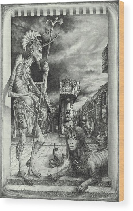 Otto Rapp Wood Print featuring the drawing Shepherd of the Sphinx by Otto Rapp