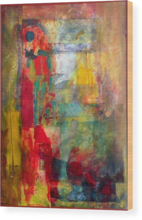 Abstract Wood Print featuring the painting Shoot The Moon by John Vandebrooke