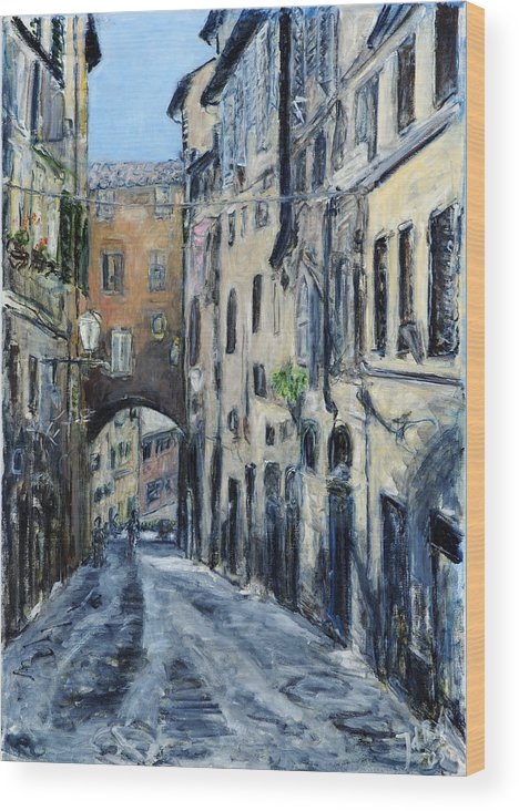 Cityscape Siena Italy Archway Street Houses Wood Print featuring the painting Siena Porta by Joan De Bot