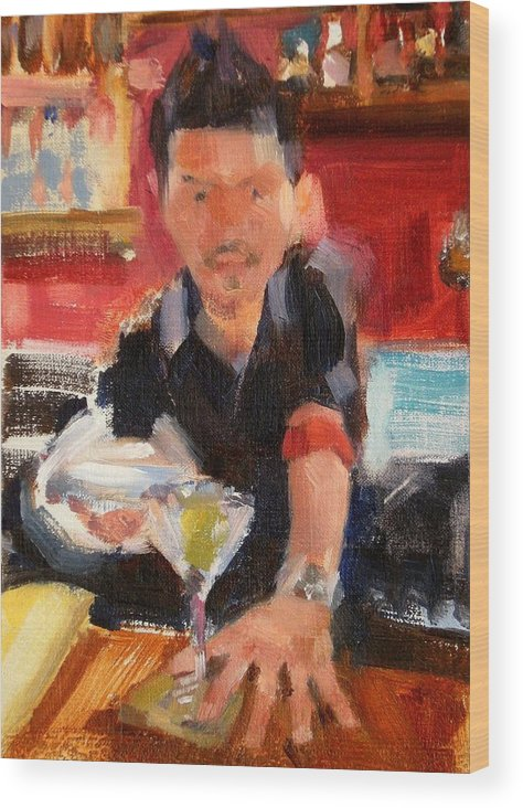 Figurative Wood Print featuring the painting Skyey at The Far Bar by Merle Keller