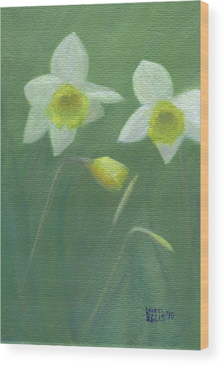 Flowers Wood Print featuring the painting Spring Morning by Laurel Ellis