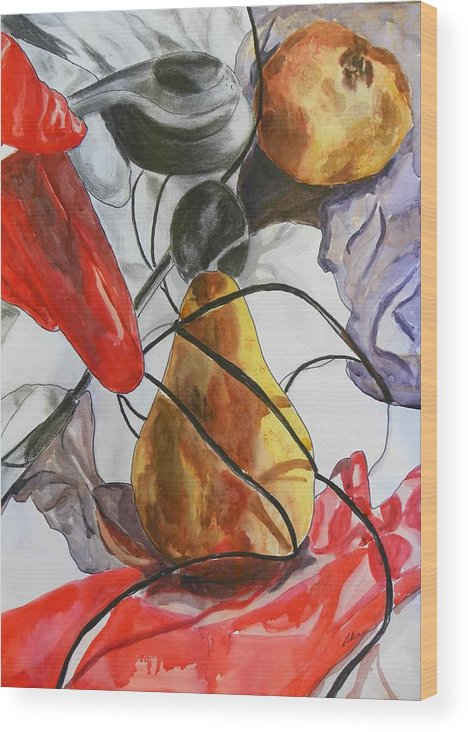 Fruits Wood Print featuring the painting Spying On Fruit by Evguenia Men