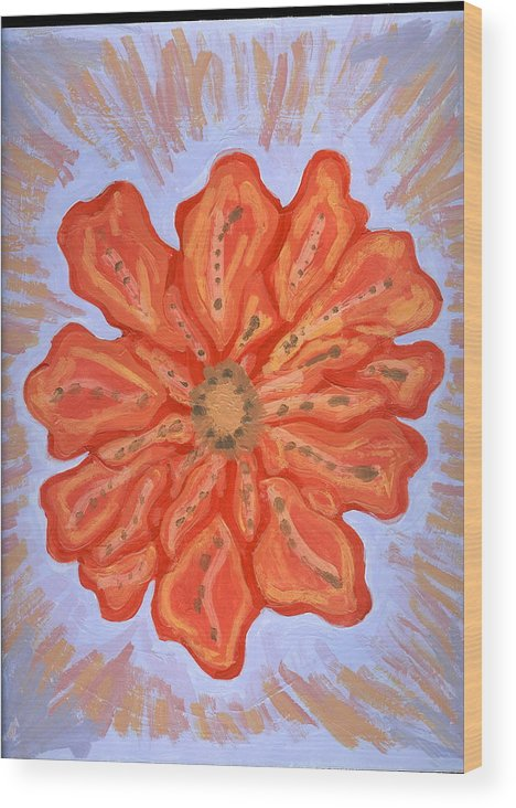 Flower Wood Print featuring the painting St Barth by Laura Lillo