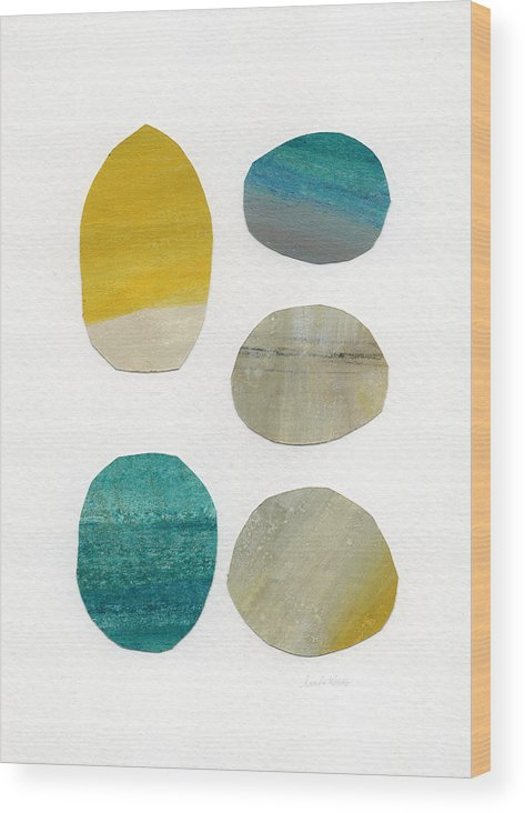 Abstract Art Wood Print featuring the mixed media Stones- abstract art by Linda Woods
