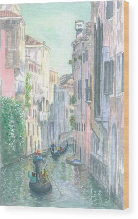 Venice Wood Print featuring the painting Street Scene by Dan Bozich