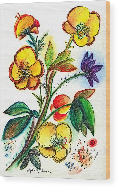 Nature Wood Print featuring the painting Strong Yellow Flowers by Julie Richman