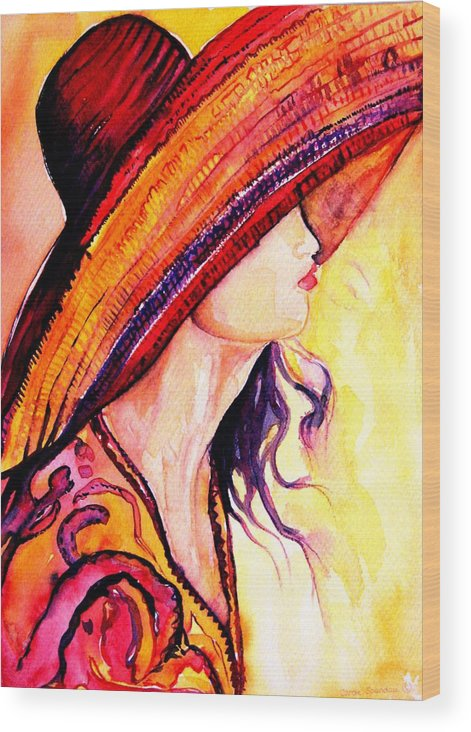 Elegant Lady Wood Print featuring the painting Summer Hat by Carole Spandau