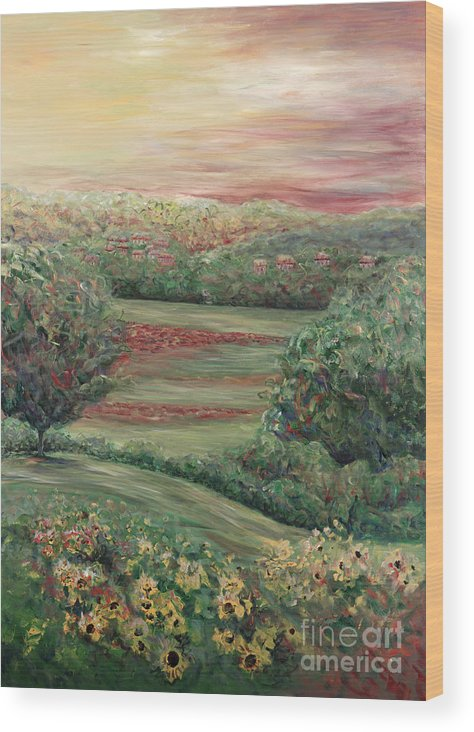 Landscape Wood Print featuring the painting Summer in Tuscany by Nadine Rippelmeyer