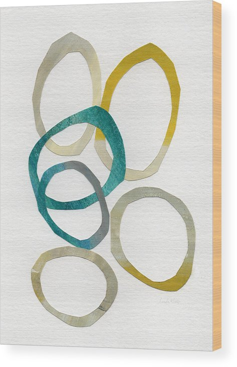 Abstract Art Wood Print featuring the mixed media Sun and Sky- abstract art by Linda Woods