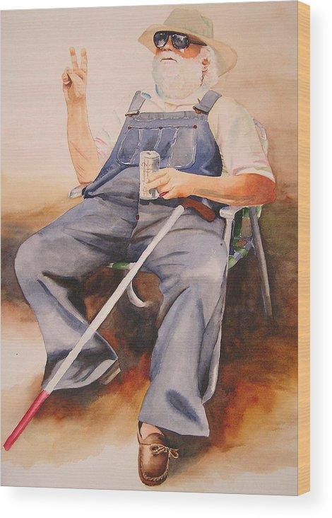 Blind Man Wood Print featuring the painting Sun Worshipper by Karen Stark