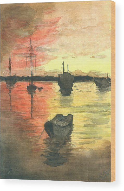 Sunset Cloudy Sky Wood Print featuring the painting Sunset Lagoon by Dan Bozich