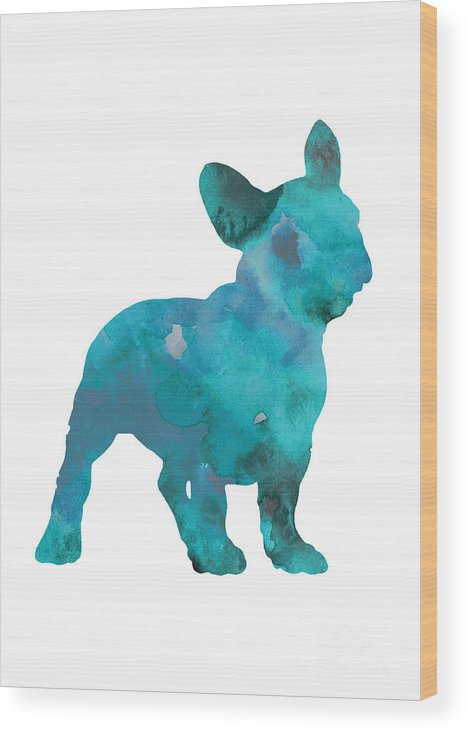 Frenchie Wood Print featuring the painting Teal frenchie abstract painting by Joanna Szmerdt