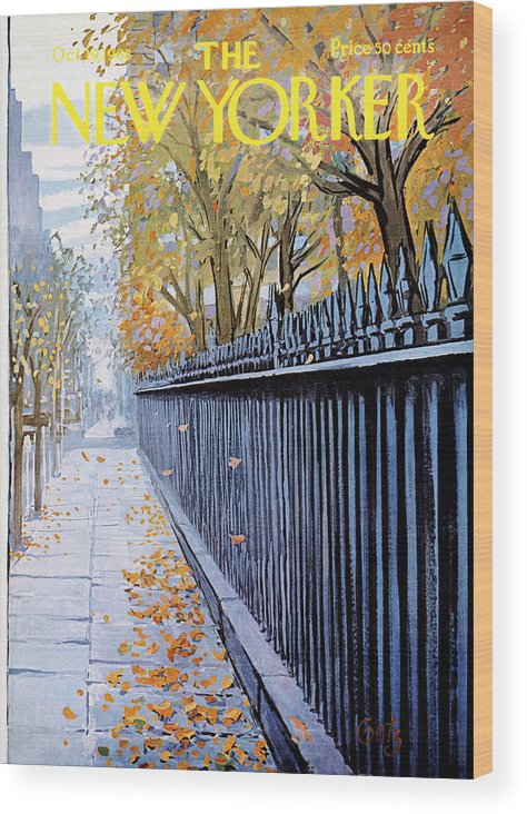 Season Wood Print featuring the painting New Yorker October 19, 1968 by Arthur Getz