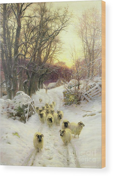 Sunset Wood Print featuring the painting The Sun Had Closed the Winter's Day by Joseph Farquharson