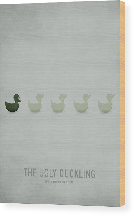 Stories Digital Art Wood Print featuring the digital art The Ugly Duckling by Christian Jackson