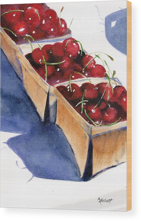 Pie Wood Print featuring the painting There's a Pie Awaiting by Marsha Elliott